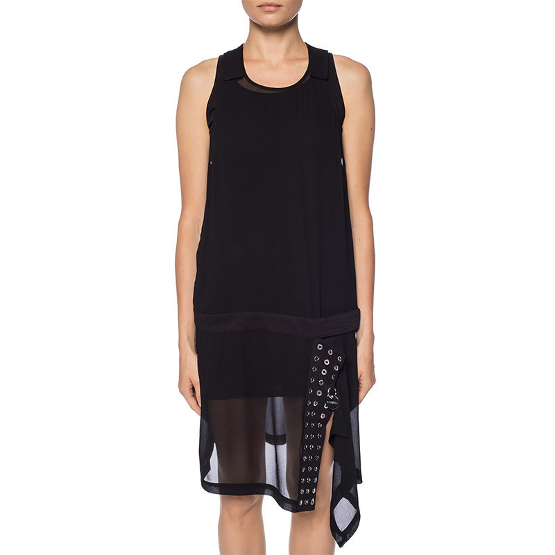 diesel d lenyne 0lasf womens short dress black double layered sleeveless tops