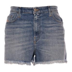 diesel de nico rk84x women denim shorts blue raw edge vintage slim jeans shorts