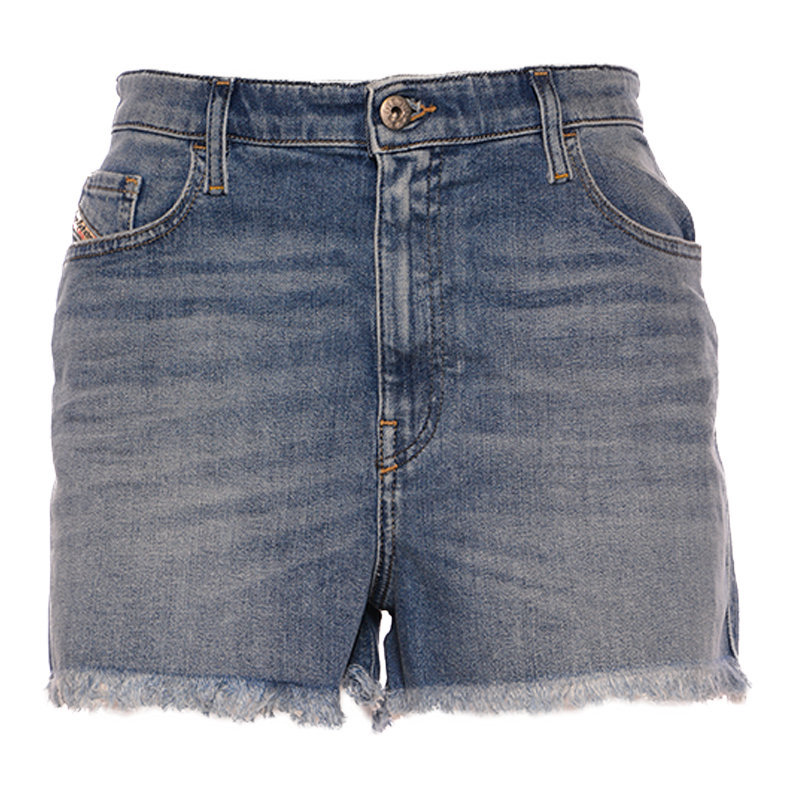 diesel de nico rk84x women denim shorts blue raw edge vintage slim jeans shorts