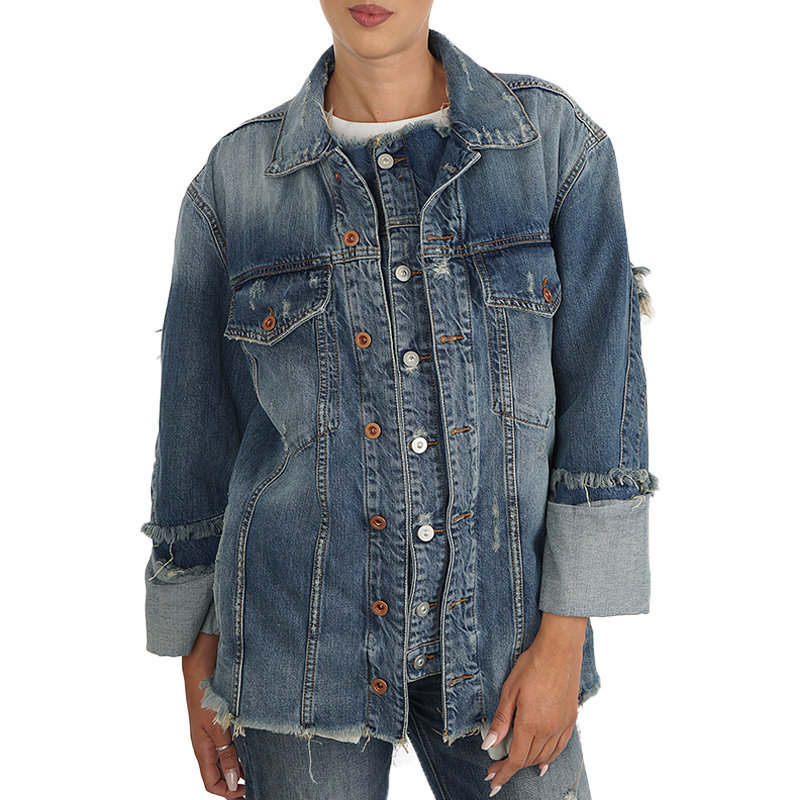 diesel de visemac womens denim jacket long sleeve distressed blue western jacket