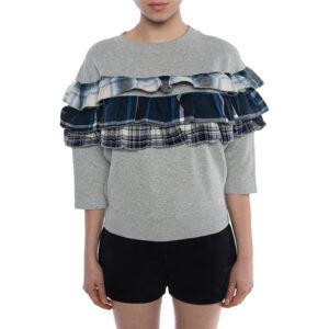 diesel f adelia womens sweatshirt pullover crew neck ruffle check grey jumper