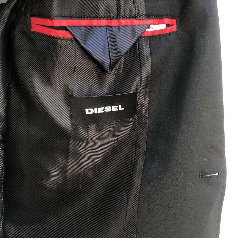diesel j lush mens blazer jacket denim trim wool double button casual black coat