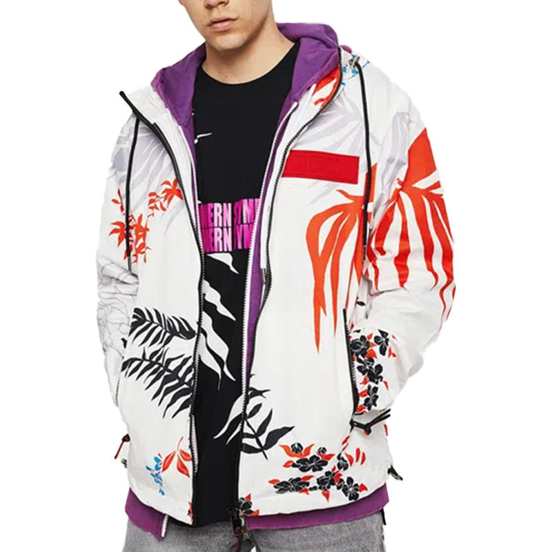 diesel j saboru palm mens hoodie jacket palm leaf print casual white hooded coat