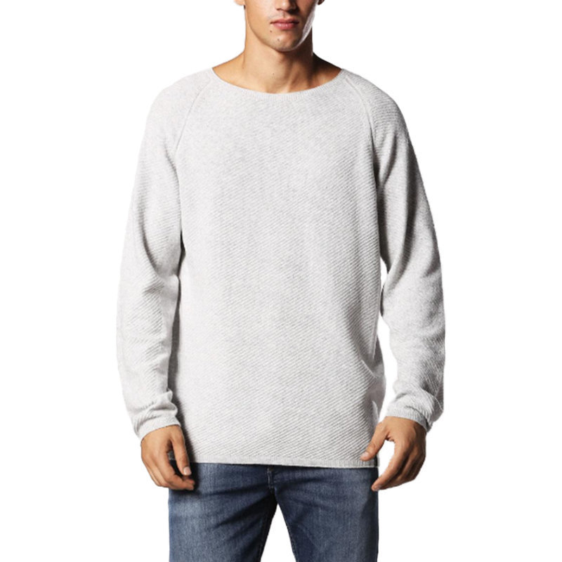 diesel k cozy mens sweatshirt ribbed crew neck grey pullover cotton jumper italy