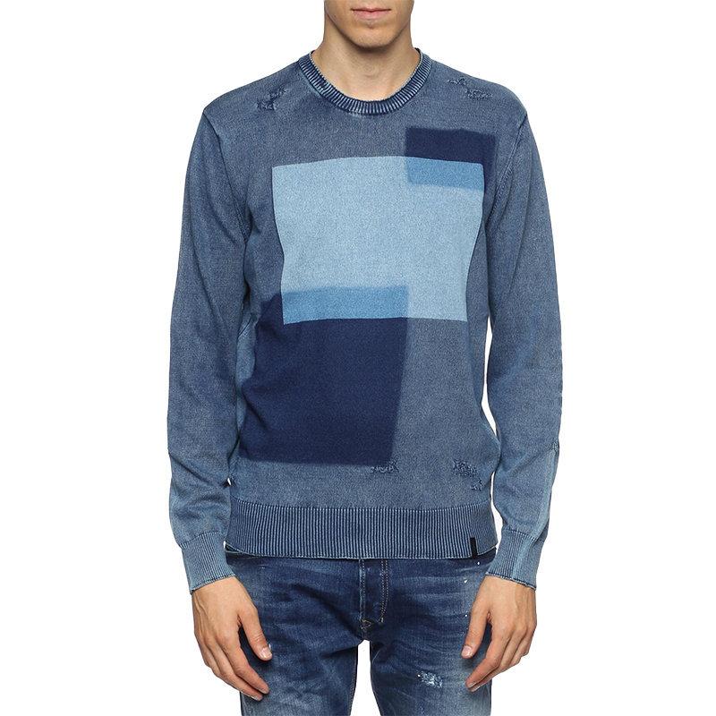 DIESEL K PATCH Mens Cardigan Long Sleeve Crew Neck Knitwear Pullover Blue Jumper