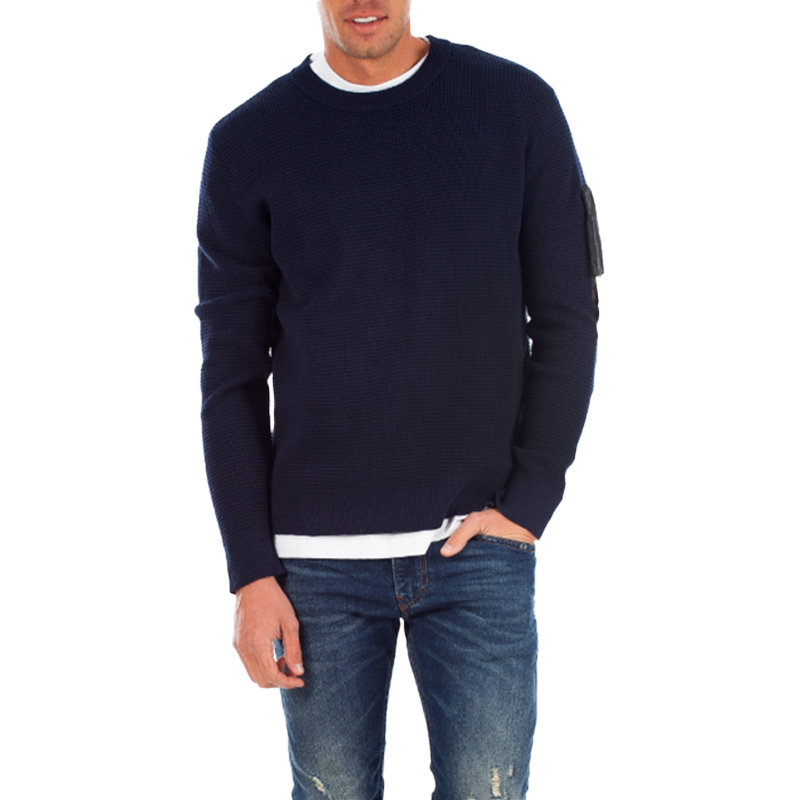 diesel k waff pull 0hati mens sweatshirts pullover crew neck blue cotton jumper