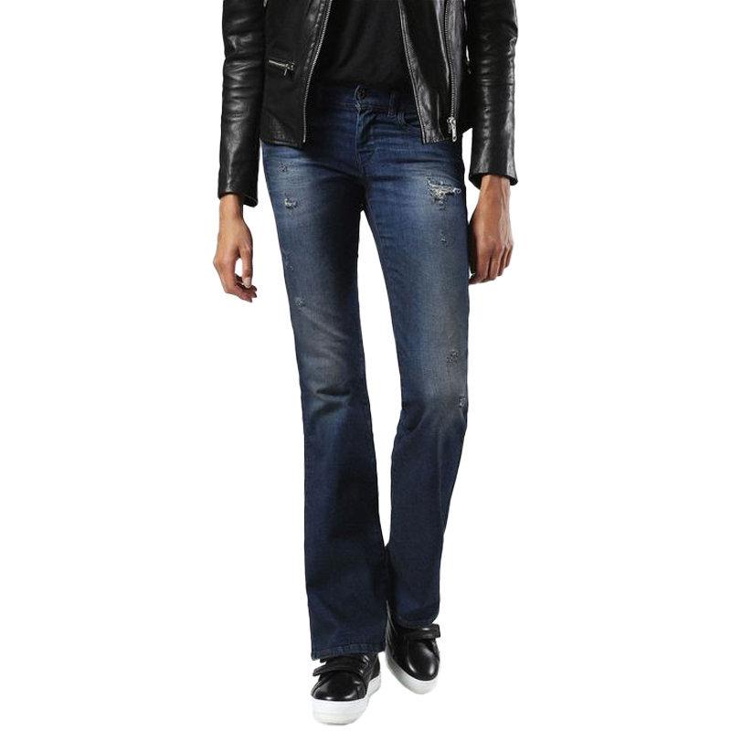 diesel lowleeh 0857c womens denim jeans distressed trousers casual bootcut pant