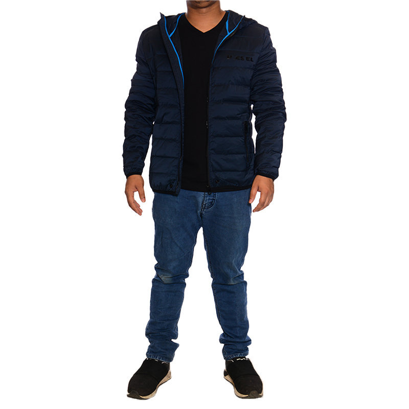 diesel mens hoodie jacket down fill padded quilted winter outwear hooded coat