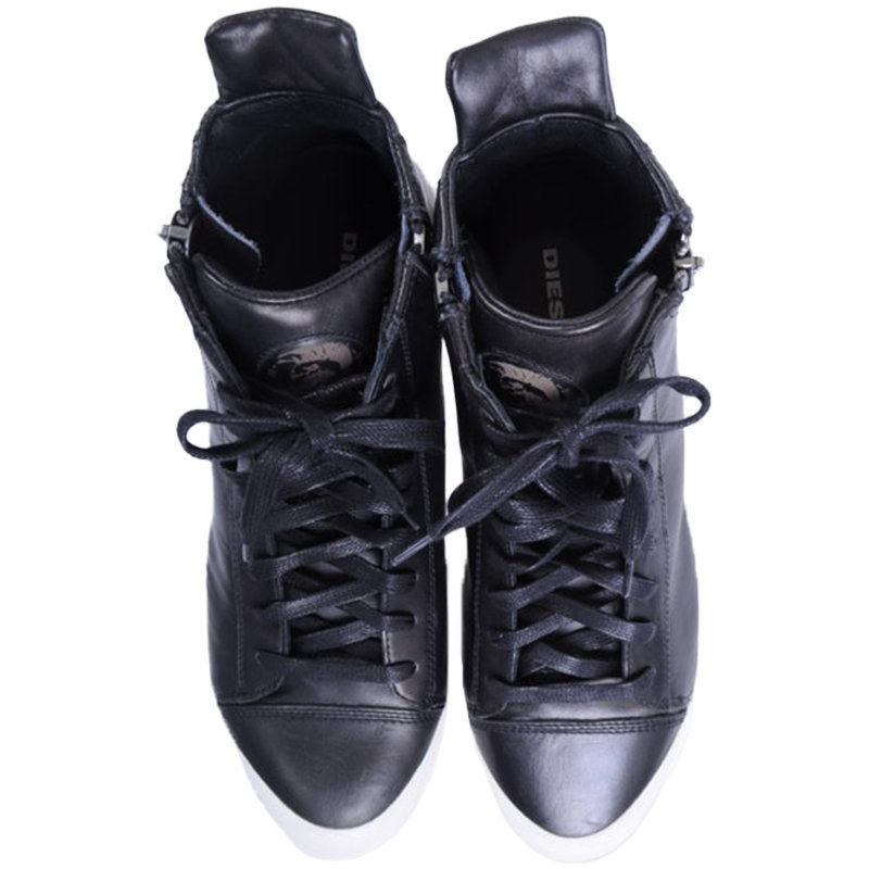 diesel s nentish mens trainers leather high neck lace up casual shoes rrp- ?220