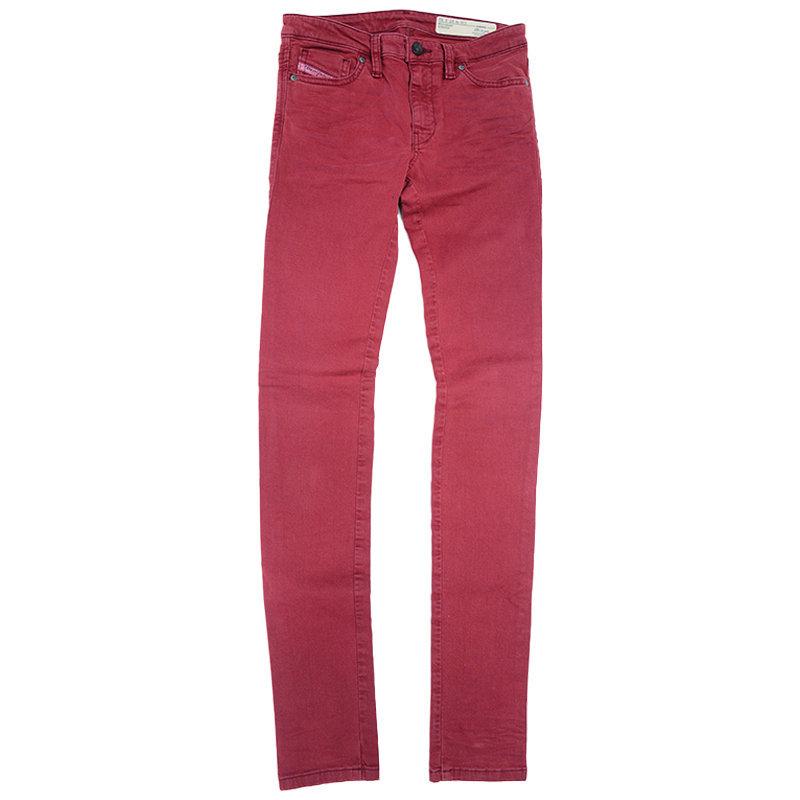 diesel skinzee c84bz womens denim jeans super slim trousers casual maroon pant
