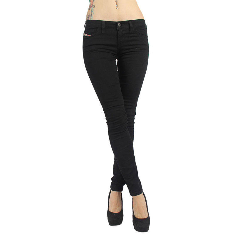 diesel skinzee low 0813e womens denim jeans stretch trouser casual black pants