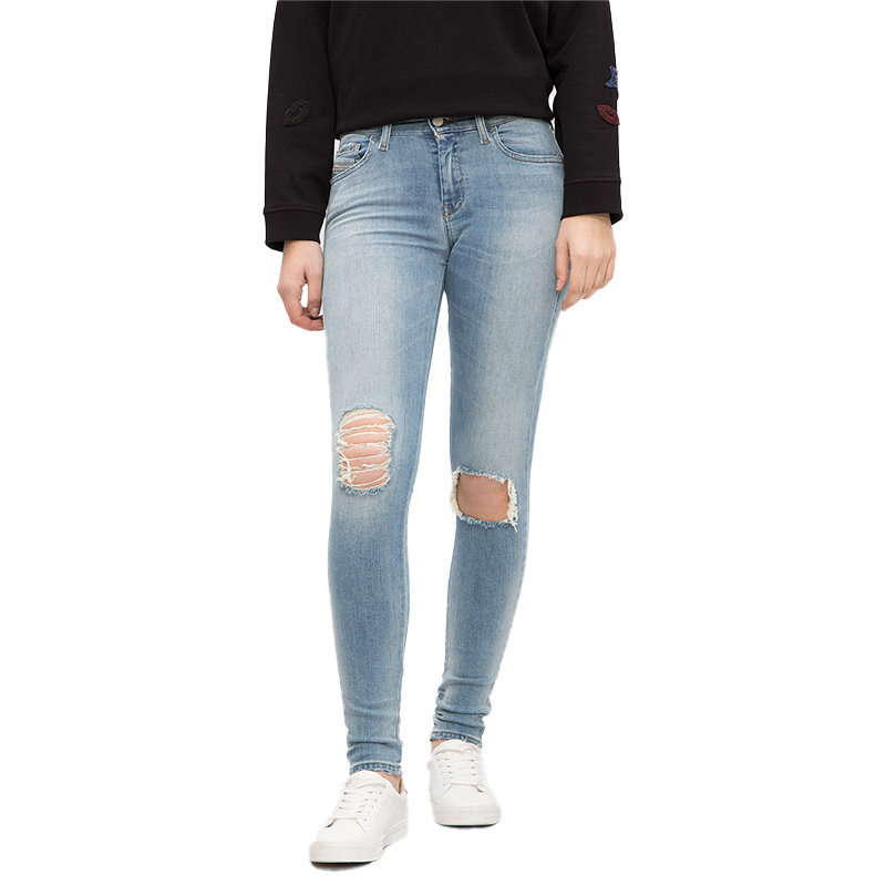 diesel slandy 084mt womens denim jeans distressed trouser casual blue pant italy