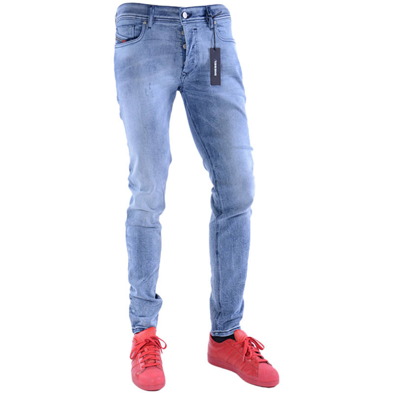diesel sleenker 084ql mens denim jeans plain stretch slim fit skinny cotton pant