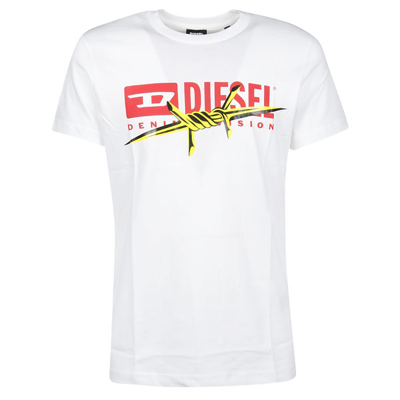 diesel t diego bx2 mens t-shirt crew neck short sleeve casual white cotton tee