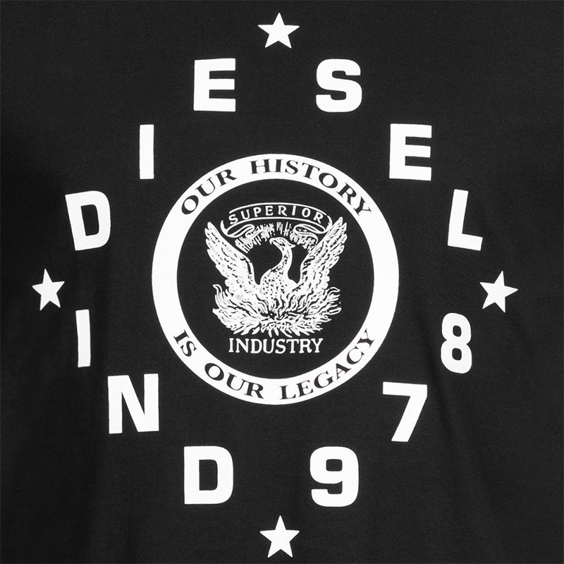 diesel t diego he mens t-shirt crew neck short sleeve casual black summer tee