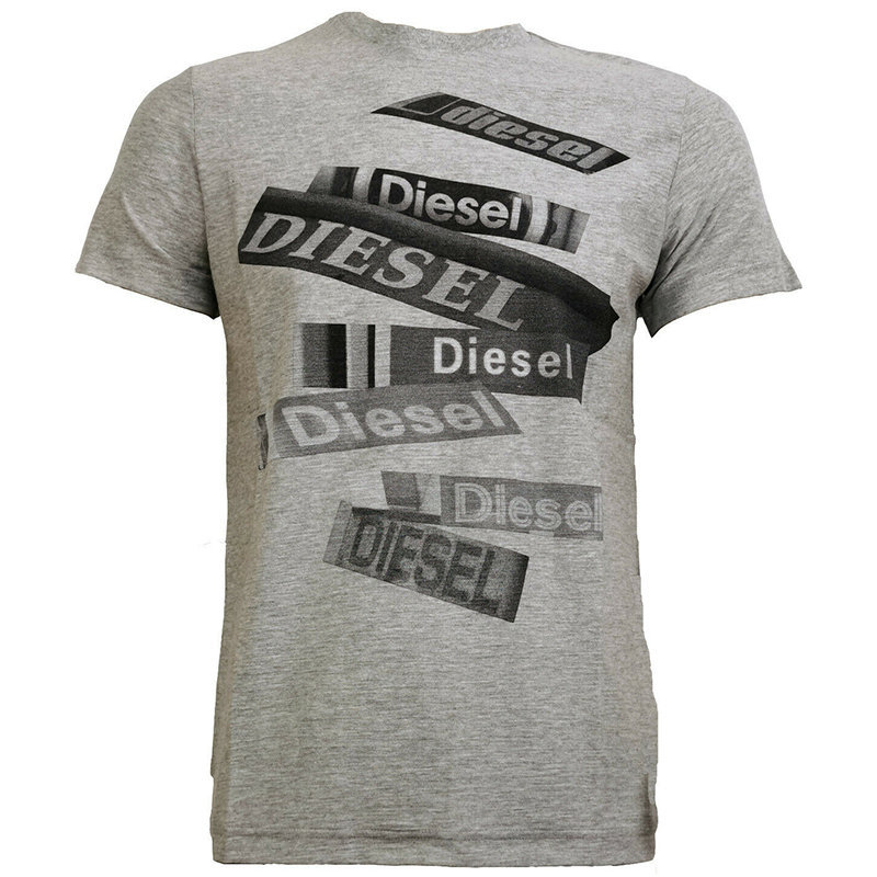 diesel t diego qd mens t-shirt short sleeve crew neck tee casual cotton grey top