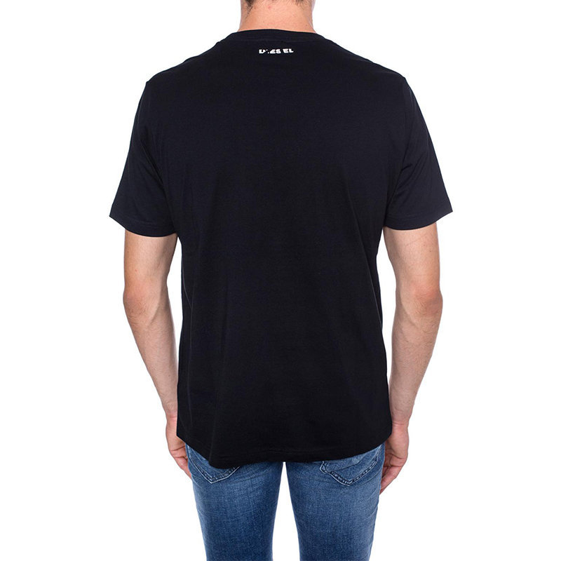 diesel t just wa mens t-shirt short sleeve crew neck casual cotton top black tee