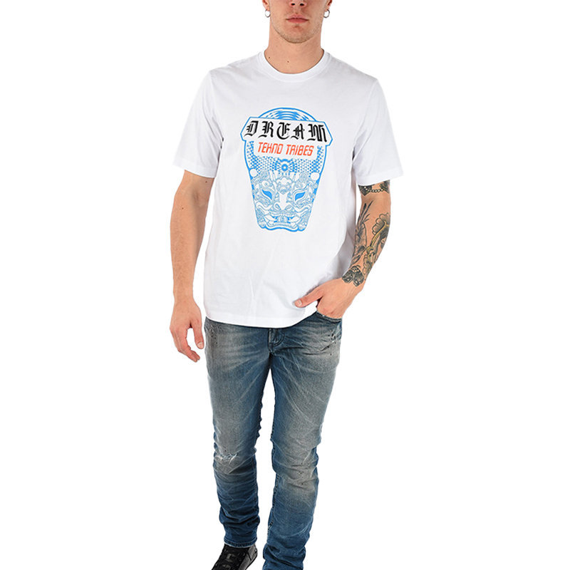 diesel t just wn mens t-shirt short sleeve crew neck white tee casual cotton top