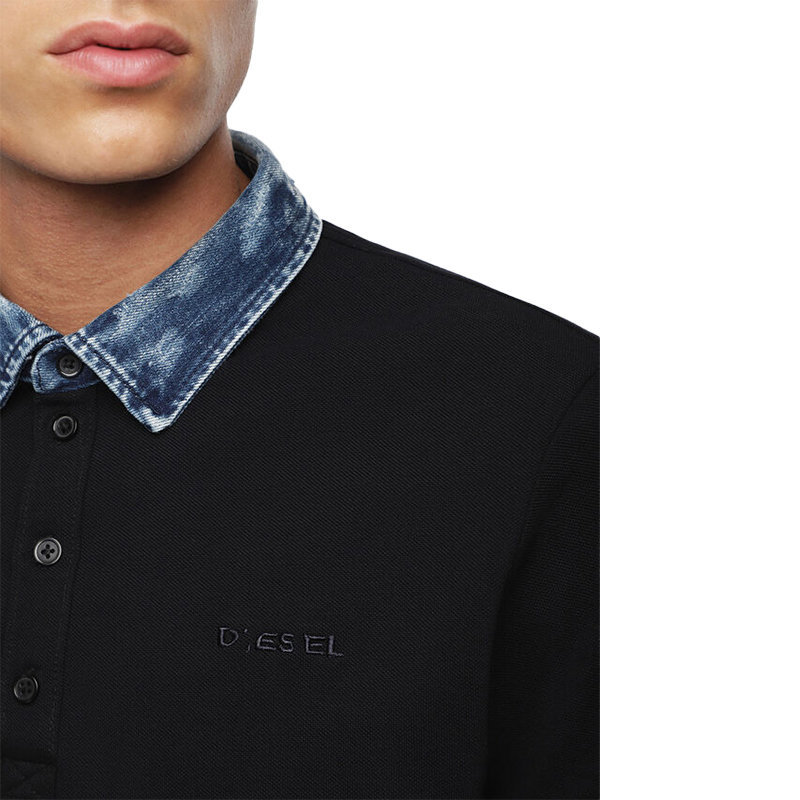 diesel t miles mens polo shirt short sleeve casual summer cotton black golf tee