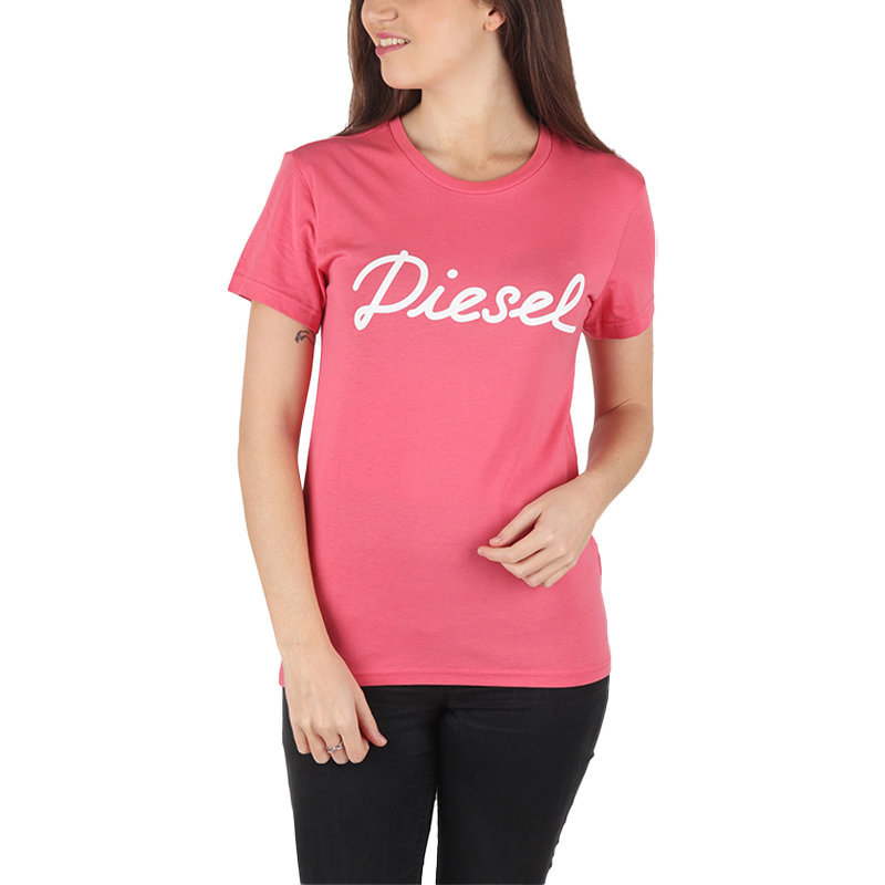 diesel t sully ah b womens t-shirt crew neck short sleeve casual summer pink tee