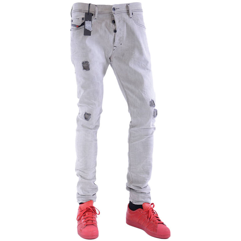diesel tepphar 0676m mens denim jeans dna stretch slim fit distressed grey pants