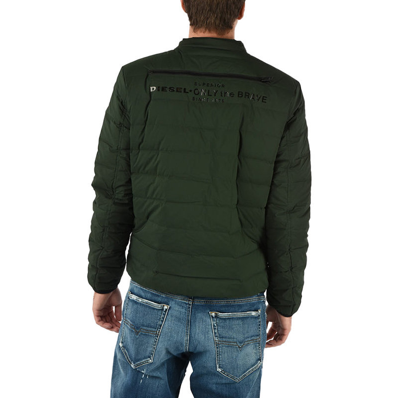 diesel w hanks 5hs mens puffer jacket padded quilted down fill green winter coat