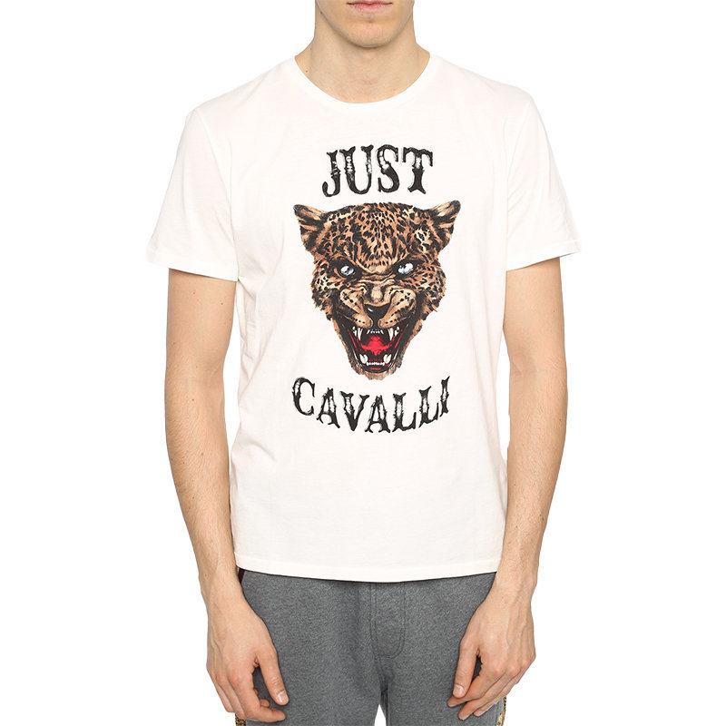just cavalli s01gc0419 mens t-shirt tiger print short sleeve cotton half white