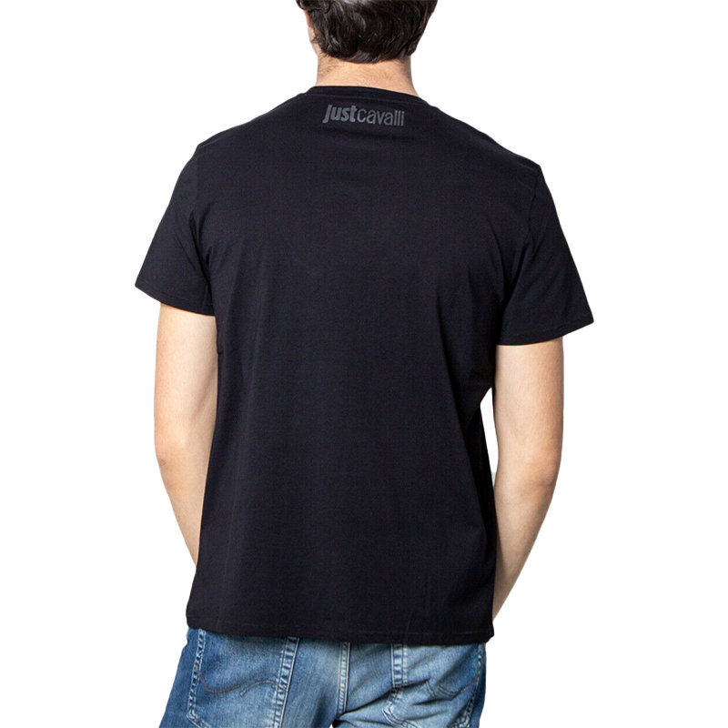 just cavalli s01gc0575 mens t shirt crew neck short sleeve soft cotton black tee