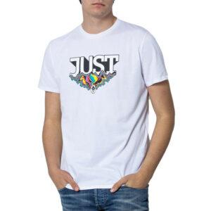 just cavalli s01gc0575 mens t shirt crew neck tops short sleeve cotton white tee