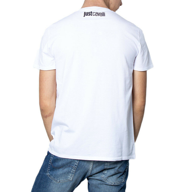 just cavalli s01gc0575 mens t shirt crew neck tops short sleeve cotton white tee