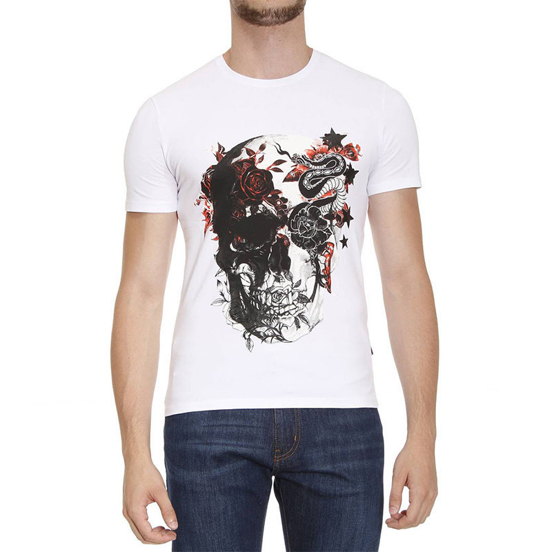 just cavalli s03gc0367 mens t-shirt 3d print short sleeve crew neck white tee