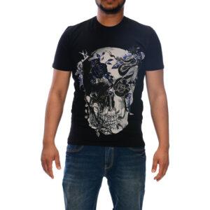 just cavalli s03gc0367 mens t-shirt 3d print short sleeve tops cotton black tee