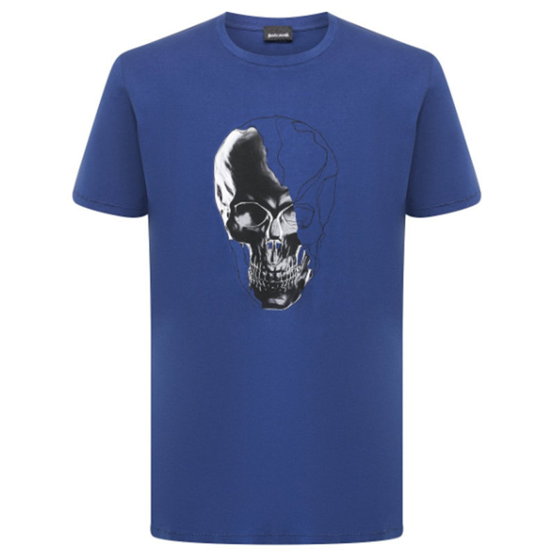 just cavalli s03gc0529 mens t-shirt skeleton short sleeve tops cotton blue tee