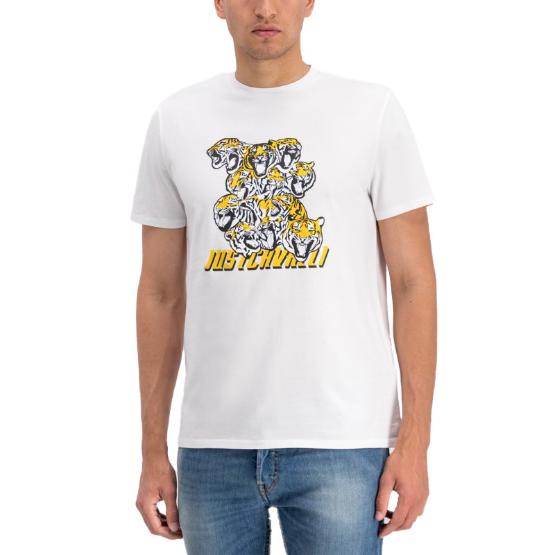 just cavalli s03gc0549 mens t-shirt tiger short sleeve tops cotton white tee