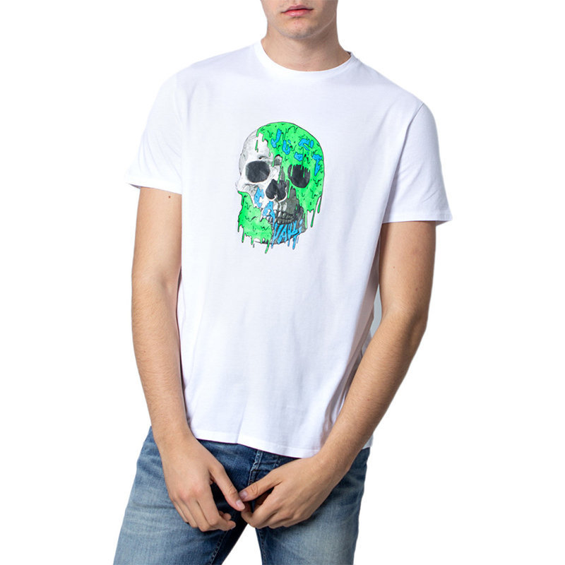 just cavalli s03gc0556 mens t-shirt skeleton short sleeve tops cotton white tee
