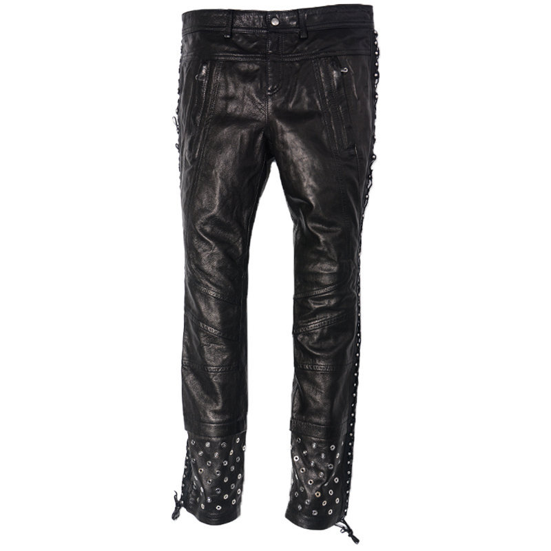 diesel black gold womens leather trousers slim fit metal studs black biker pants