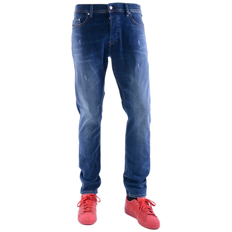 diesel tepphar 0688a mens denim jeans distressed stretch plain slim fit carrot