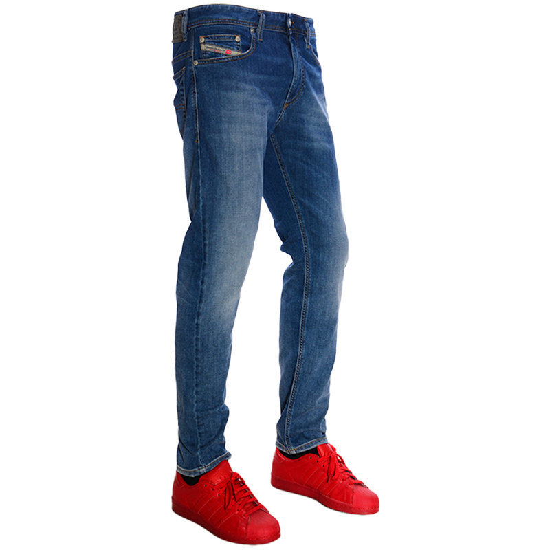 diesel thavar xp r8tw4 mens denim jeans slim skinny faded blue trouser pants