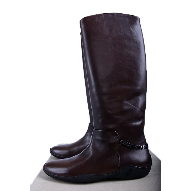 armani collezioni xad596 womens leather boots over the knee high flat shoes