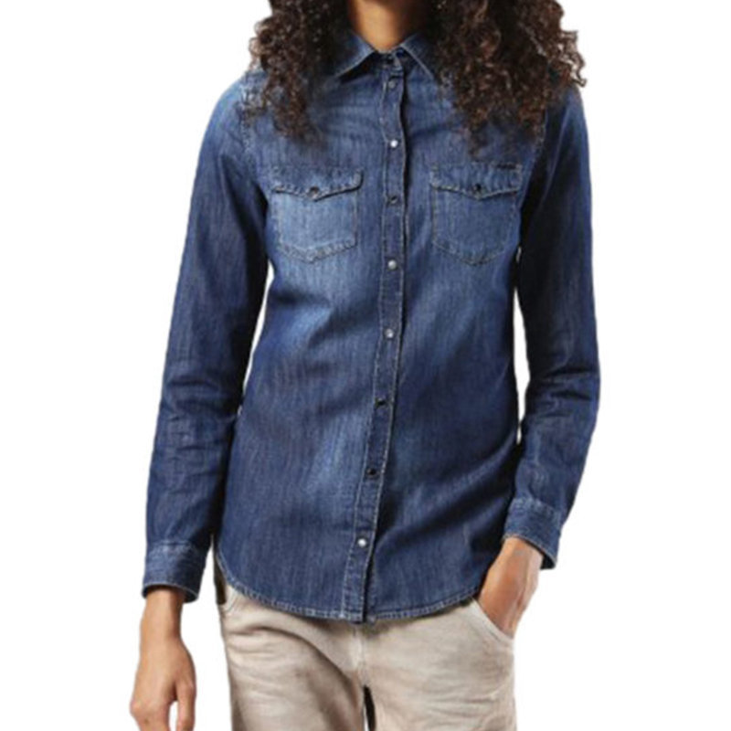diesel de pratt womens denim jeans casual shirt ladies top cotton elegant blue