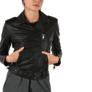 diesel l lupus g womens biker jacket black genuine leather slim fit zipper coat