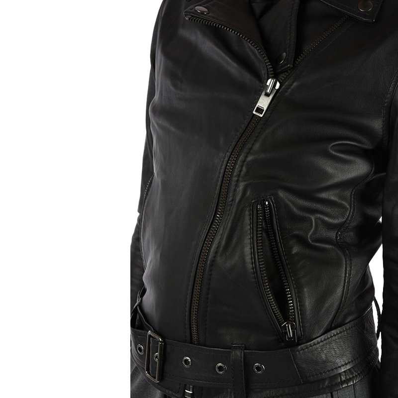 diesel l lupus g womens biker jacket black genuine leather slim fit zipper coat