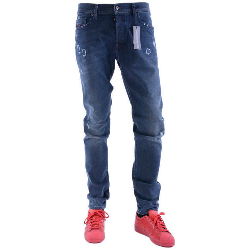 diesel tepphar 084ld mens denim jeans distressed d.n.a stretch slim fit carrot