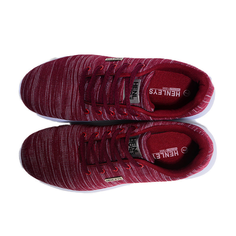 henleys womens trainers gym running lace up sports shoes burgundy casual sneaker
