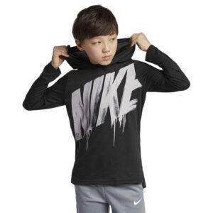 nike cn5984 breathe kids hoodie t-shirt pullover hooded casual boys tops black