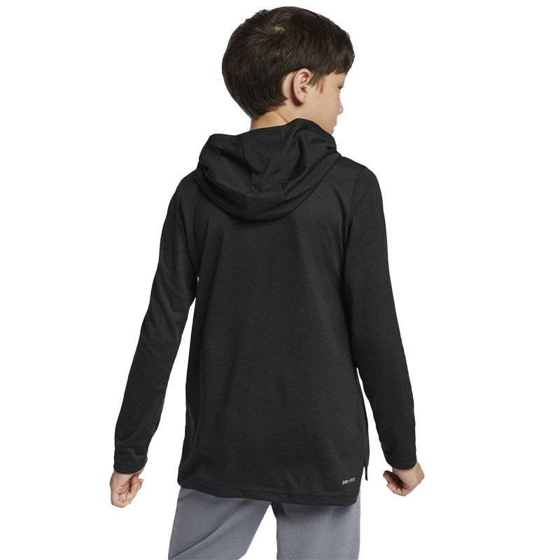 nike cn5984 breathe kids hoodie t-shirt pullover hooded casual boys tops black