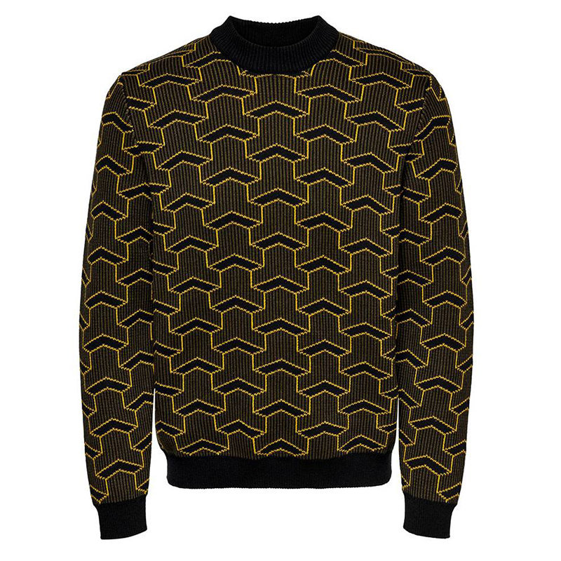 only and sons mens sweatshirt high neck knitted heavy casual jumper retro style