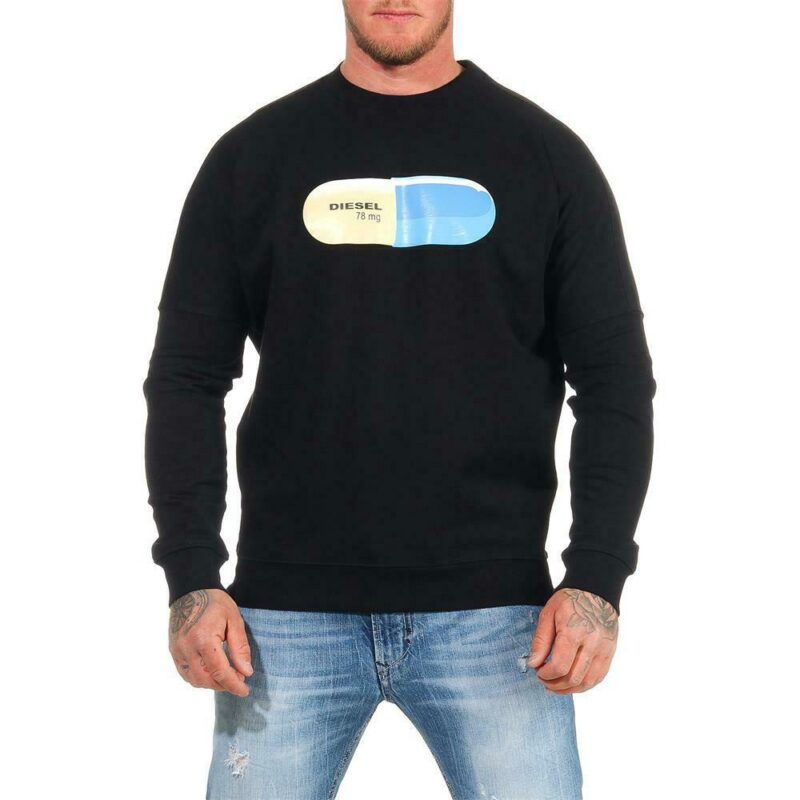 diesel s kalb qa felpa mens sweatshirt crew neck pullover black over size jumper