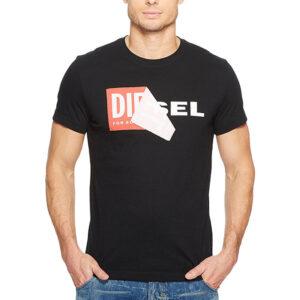diesel t diego qa mens t-shirt short sleeve crew neck slim fit casual black tee