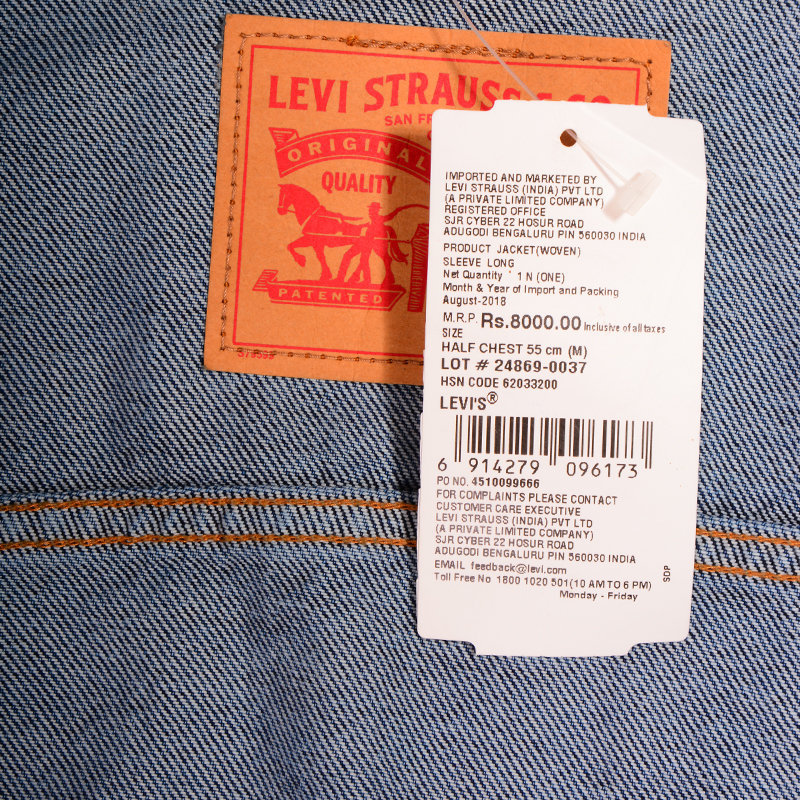 levis mens denim jacket classic button up regular fit cotton casual blue jacket